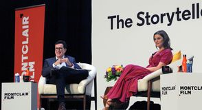 Montclair Film Festival. Stephen Colbert in conversation with actress Rachel Weisz on her new movie, Disobedience The event took place in Buzz Aldrin middle stock photo