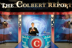 Stephen Colbert Wax Figure. Stephen Tyrone Colbert is an American political satirist, writer, producer, singer, television host, actor, media critic, and Royalty Free Stock Photos