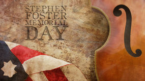 Stephen Foster Memorial Day. Violin and Flag. Stephen Foster Memorial Day. Violin and America Flag Stock Photos