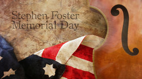 Stephen Foster Memorial Day. Violin and Flag. Stephen Foster Memorial Day. Violin Usa Flag and Wood Royalty Free Stock Images