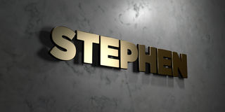 Stephen - Gold sign mounted on glossy marble wall  - 3D rendered royalty free stock illustration Stock Photography