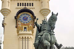 Stephen the Great Statue - Palace of Culture - landmark attraction in Iasi, Romania Royalty Free Stock Images