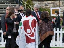 Stephen Harper Meets Families van Gevallen Troepen stock fotografie