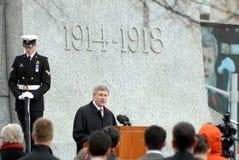 Stephen Harper at War Memorial Royalty Free Stock Photo