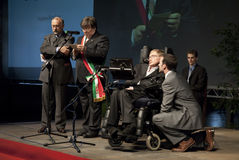 Stephen Hawking. Professor Stephen Hawking conference in Italy Stock Photos