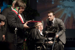 Stephen Hawking. Professor Stephen Hawking conference in Italy royalty free stock photo