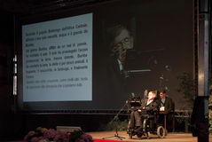 Stephen Hawking. Professor Stephen Hawking conference in Italy Royalty Free Stock Images