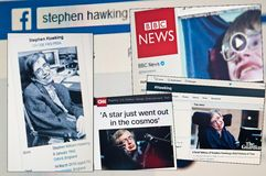 Stephen Hawking dies aged 76. 14th March 2018, social media and news reports internet screens collage royalty free stock images