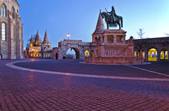 Stephen I of Hungary monument and Fisherman's Bastion in the mor Royalty Free Stock Photography