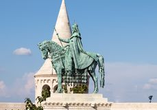 Budapest/Hungary-12.09.18 : King Stephen statue horse fisherman bastion square stock photo