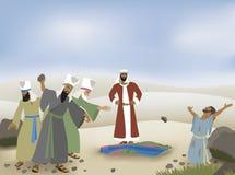Stephen Stoned en biblisk illustration Arkivbild