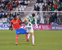Stephen Sunday R(4) in action during match league Cordoba(W) vs Numancia (R) Royalty Free Stock Images