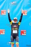 Stephens Wins Black Jersey. St. Paul, Minnesota, USA – June 15, 2016: Professional cyclist Lauren Stephens atop winner's podium at North Star Grand Prix Stock Photo