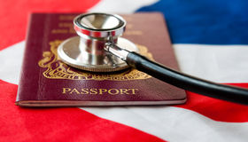 Stephoscope on passport Stock Photography