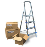 Stepladder and cardboard boxes Royalty Free Stock Images