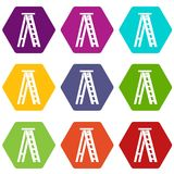 Stepladder icon set color hexahedron Stock Photo