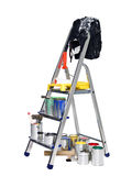 Stepladder with paint cans and brushes Stock Photos