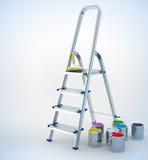 Stepladder y pintura del metal para el trabajo de mantenimiento Foto de archivo