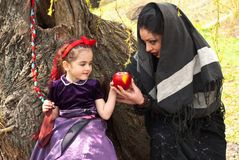 Stepmother gives poisoned apple to snow white Royalty Free Stock Photos