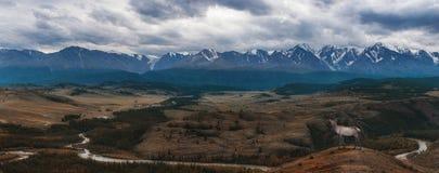 Steppa di Kurai e cresta di Nord-Chui fotografie stock