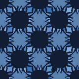 Steppdeckenblumenformen des blauen Gänseblümchens des Indigos Nahtloser Hintergrund des Vektormusters Handgezogene geometrische B lizenzfreie abbildung