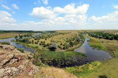 Steppe in de Oekraïne Steppeinstallaties Stipaborysthenica Festucavalesiaca Royalty-vrije Stock Afbeelding
