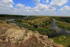 Steppe in de Oekraïne Steppeinstallaties Stipaborysthenica Festucavalesiaca Stock Afbeelding