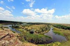 Steppe in de Oekraïne Steppeinstallaties Stipaborysthenica Festucavalesiaca Stock Fotografie
