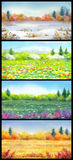 Steppe in different seasons. Watercolor landscape Stock Photo