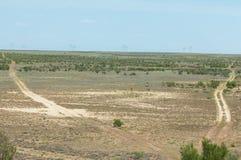 steppe Humidité déboisée et pauvre et secteur généralement plat avec le gra photo libre de droits