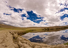 Altai. Steppe lake sky. Royalty Free Stock Images