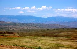 Steppe Landscape. In republic of Tuva, Russia on the oad to Kyzyl Royalty Free Stock Image