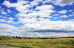 The steppe landscape with a beautiful sky Stock Images
