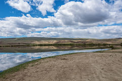 Steppe lake sky landscape Royalty Free Stock Photos