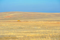 Steppe landscape. With a moving orange car Stock Images