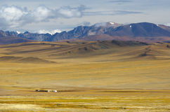 Steppe landscape with nomad's camp Stock Photo