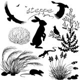 Steppe plants and animals set Stock Photo