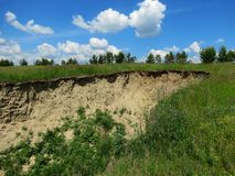 Steppe ravines. Cut the steppe deeply Royalty Free Stock Photos