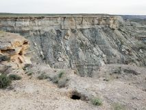 Steppe rocks, cavity. Arid landscape. Steppe rocks Cavity. Arid landscape. Kazakhstan. Mangistau region Royalty Free Stock Photo