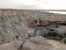 Steppe rocks, cavity. Arid landscape. Steppe rocks. Cavity  Arid landscape. Kazakhstan. Mangistau region Royalty Free Stock Photo
