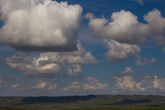Steppe in spring, Kazakhstan. Amazing clouds and sky Royalty Free Stock Images
