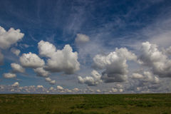 Steppe in spring, Kazakhstan. Amazing clouds and sky Royalty Free Stock Photography