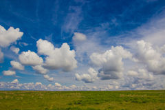 Steppe in spring, Kazakhstan. Amazing clouds and sky Stock Images