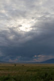 Steppe and a thunderstorm in the mountains Royalty Free Stock Photos