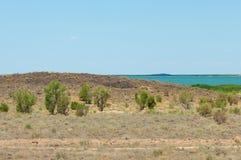 steppe Treeless fattig fuktighet och allmänt lägenhetområde med gra arkivfoto