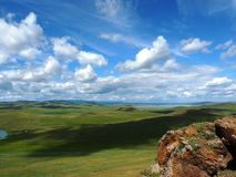 Steppe valley. In Central Asia Stock Photos