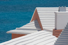 Stepped Bermudian roofs. Against a dark sea royalty free stock photography