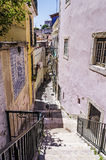Stepped street. A miniscule stepped street in Bairro Alto Lisbon Stock Photo