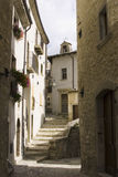 Stepped village street. Detail of a narrow stepped village street at Barrea in Italy Royalty Free Stock Image