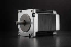 Stepper motor of CNC linear axis drive. CNC drive stepping / stepper motor with NEMA standard flange, used for driving axes of CNC machines like 3D printers and Stock Photo